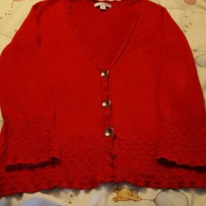 Classy Red Cardigan, Cold Water Creek.